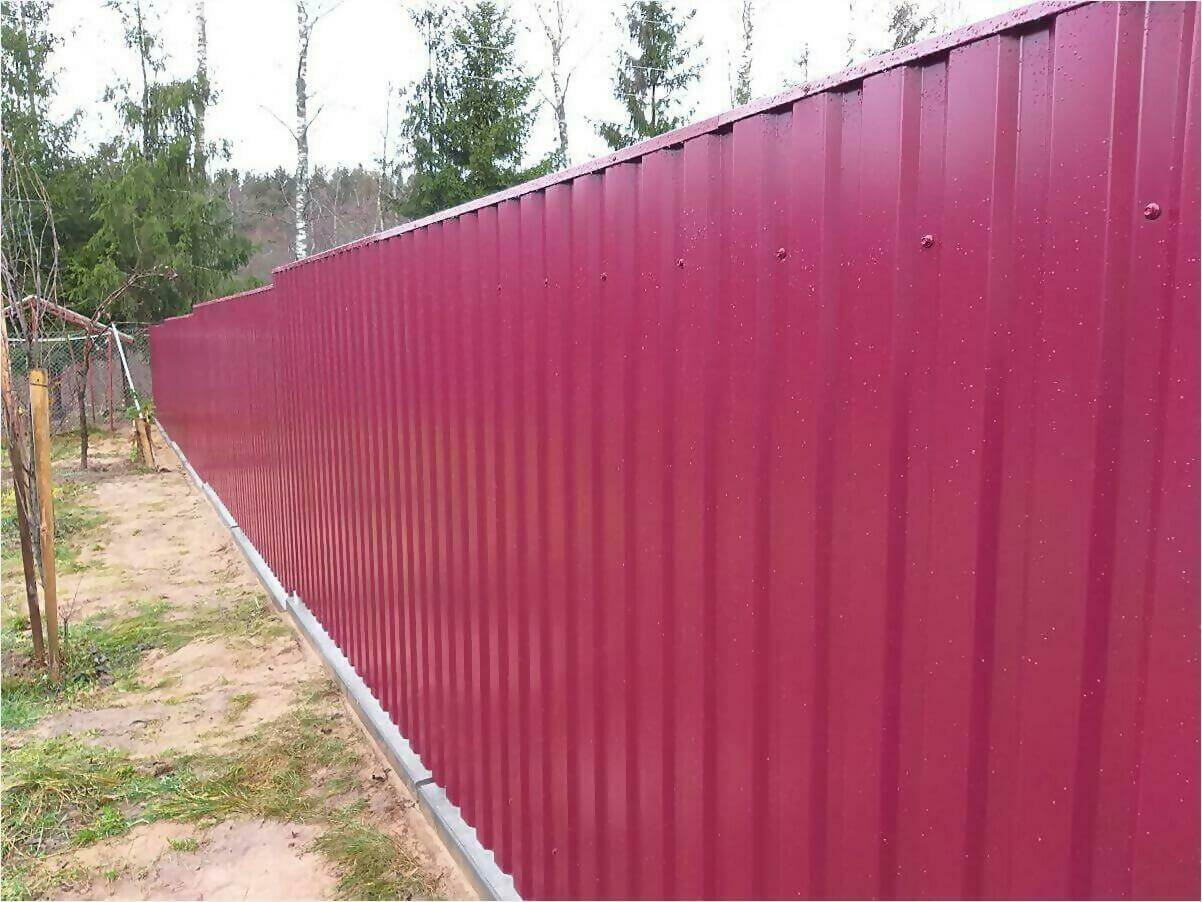 Забор 70м из двустороннего профлиста 3005 фото5