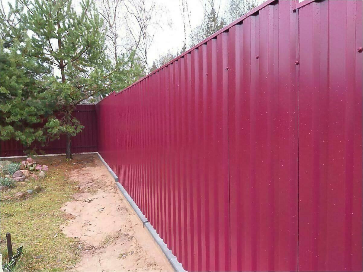 Забор 70м из двустороннего профлиста 3005 фото4