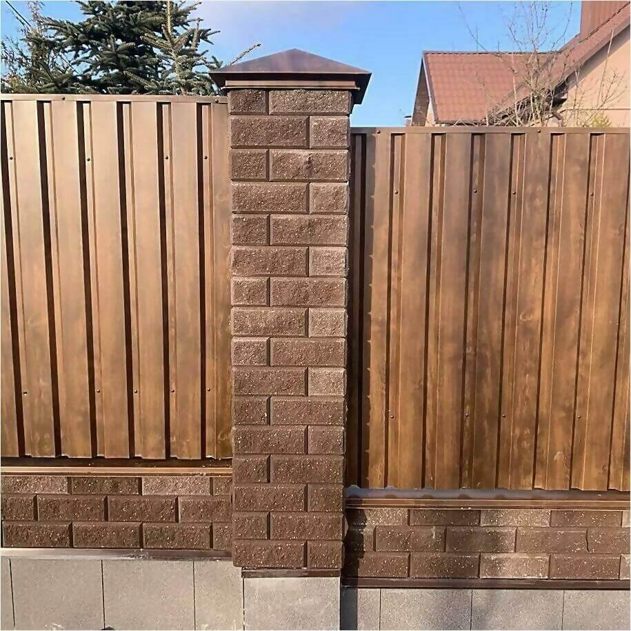 Забор из профлиста НС-21 цвет Printech темное дерево фото5