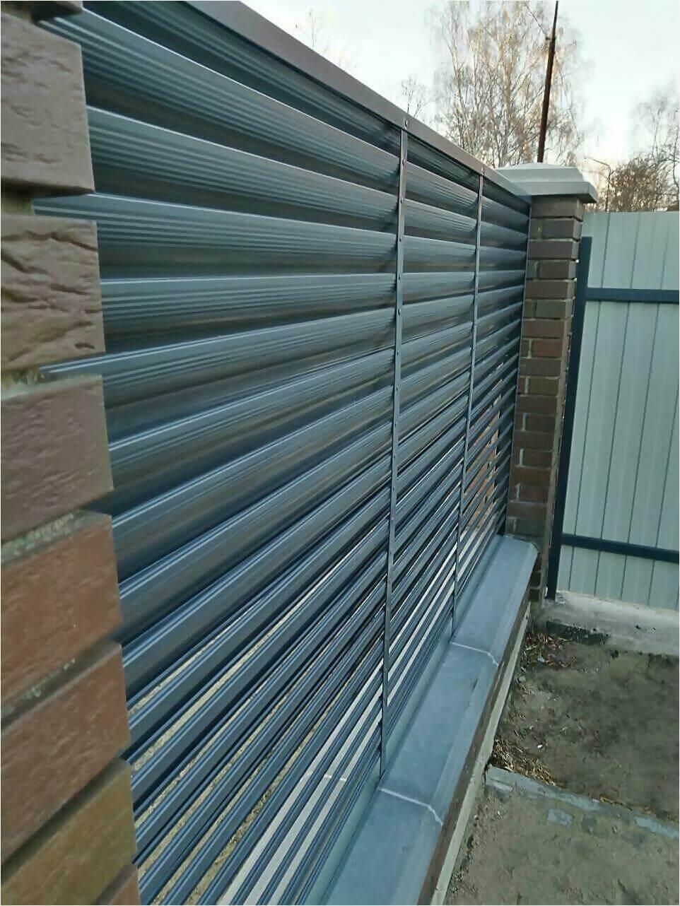 Забор жалюзи 125м RAL7024 фото6