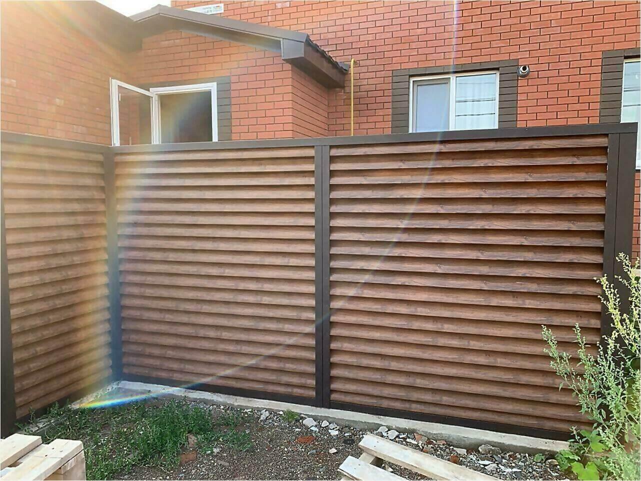 Забор-жалюзи каштан двусторонний фото1