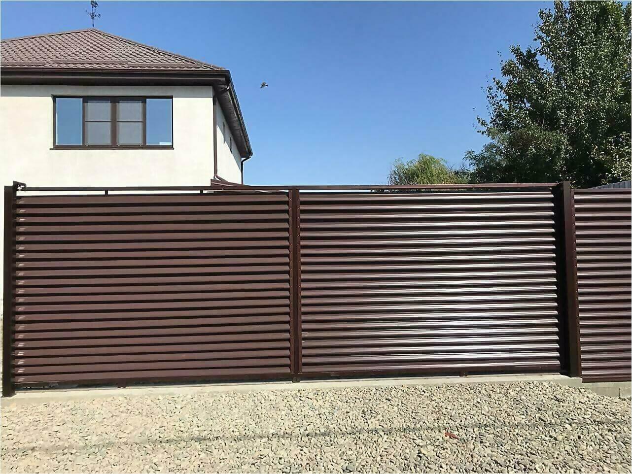 забор-жалюзи RAL8017 фото4