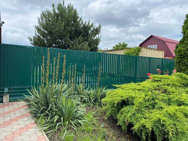 Забор из штакетника 60м Зеленый Мох фото7