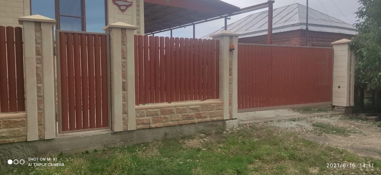 забор из штакетника Терракотовый Стальной Бархат фото3