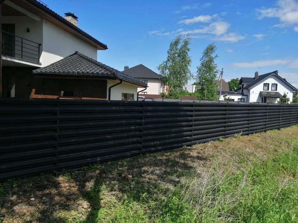 забор из штакетника Черный Стальной Бархат фото2