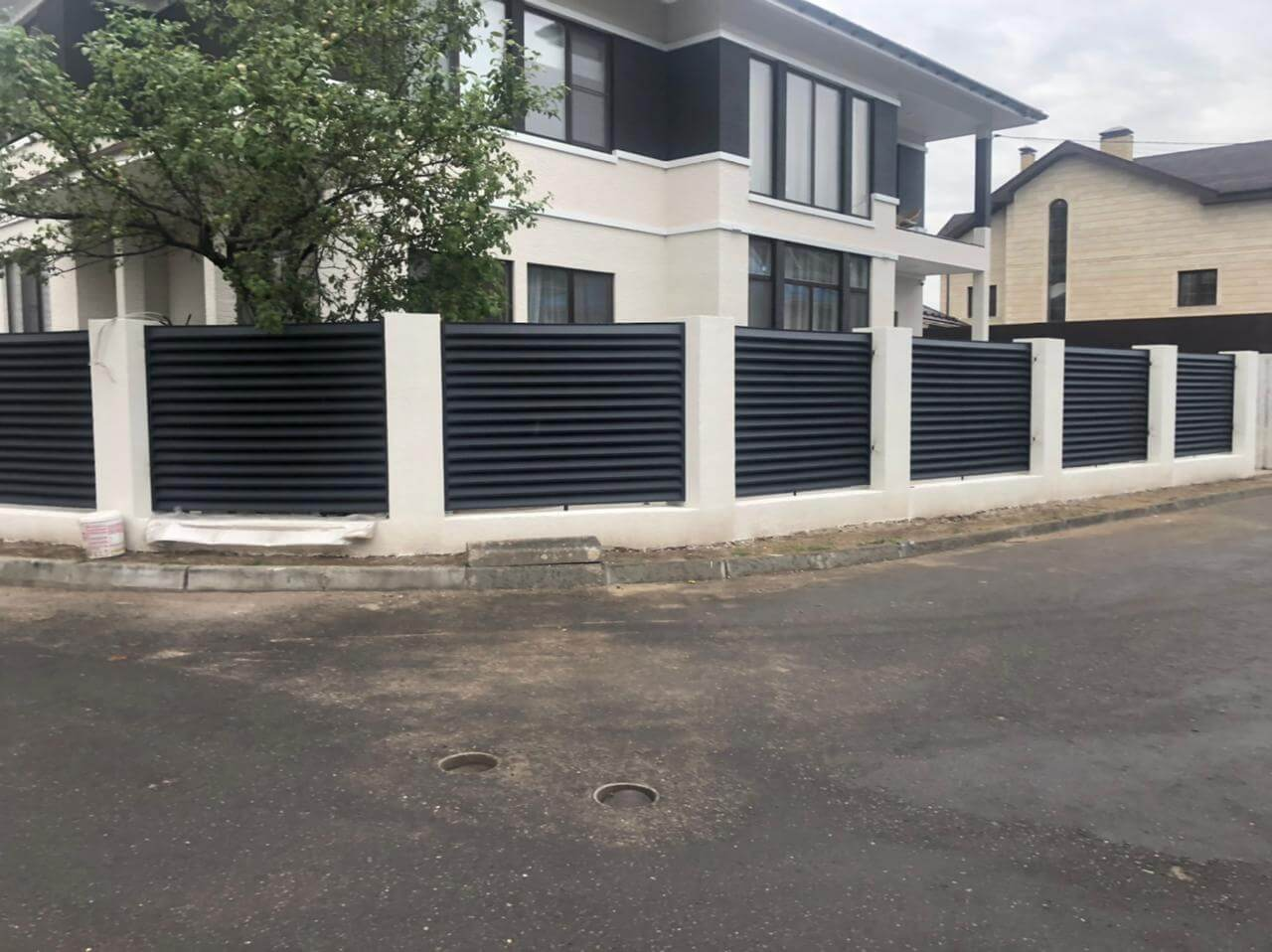 забор-жалюзи ЭКО-Z Серый графит двухсторонний матовый фото1