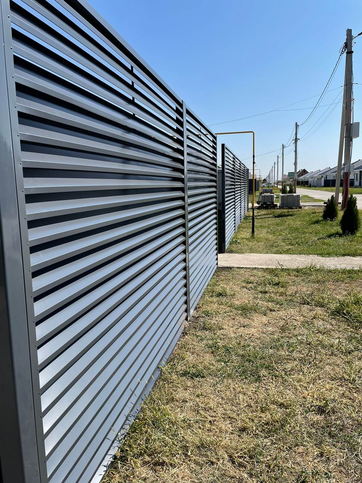 забор-жалюзи с ламелями эко-z ral7024/7024 серый графит двухсторонний фото3