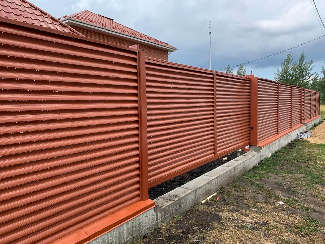 забор-жалюзи терракотовый фото1