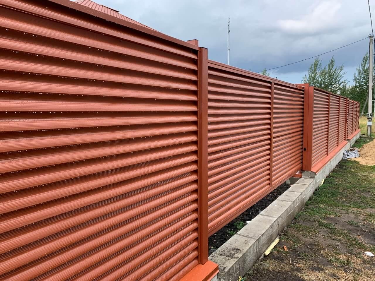 забор-жалюзи терракотовый фото2