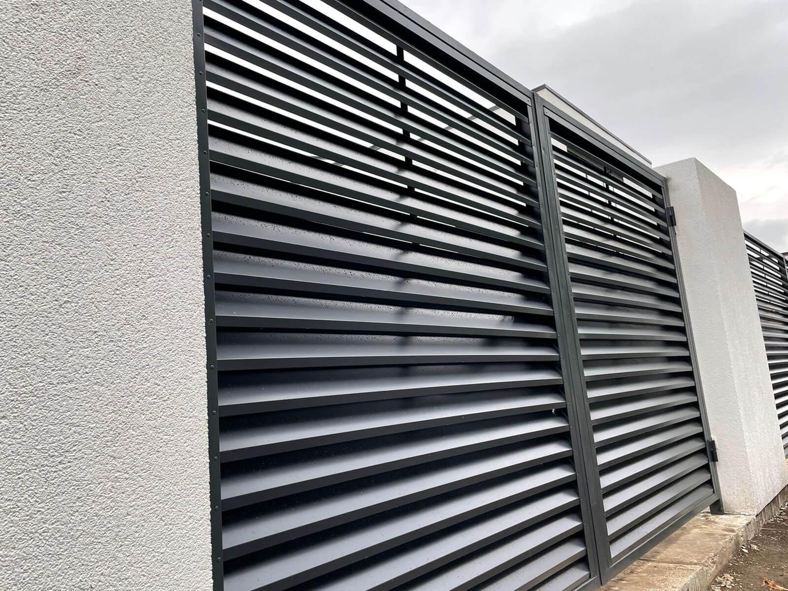 забор-жалюзи с ламелями ЭКО-Z Серый Графит двухсторонний фото2